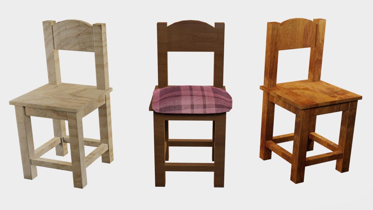 wooden chair fbx