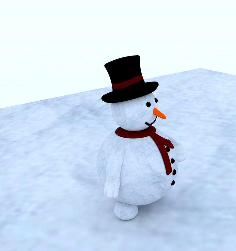 3ds max snowman snow man