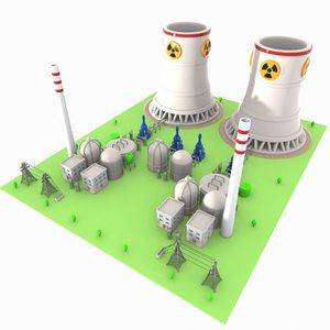 3d cartoon nuclear power