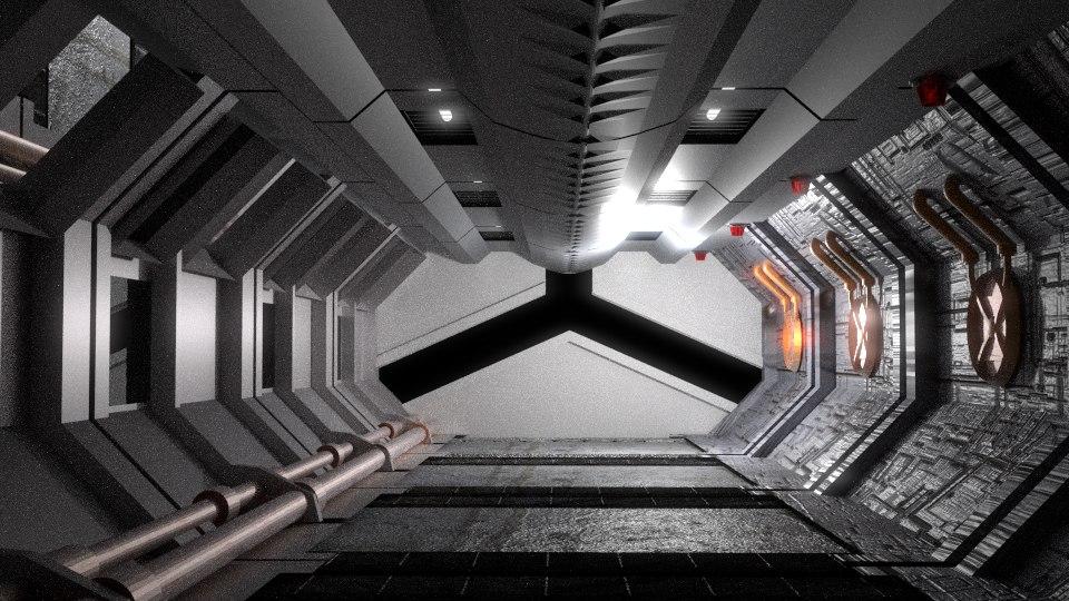 spaceship corridor 3d blend