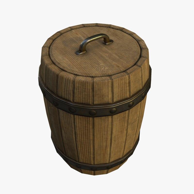 wood barrel 3d model