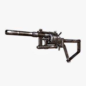 3d post-apocalyptic revolver model