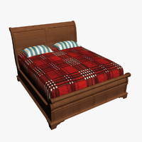wooden bed wood 3d 3ds