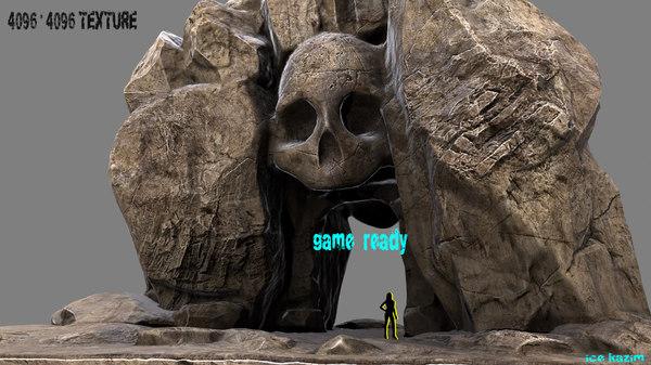 skull cave 3d obj