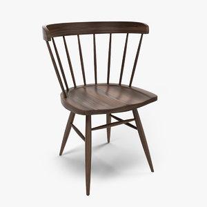 straight chair nakashima 3d obj