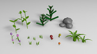 3d model of pack plants flowers