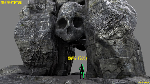 3d obj skull cave