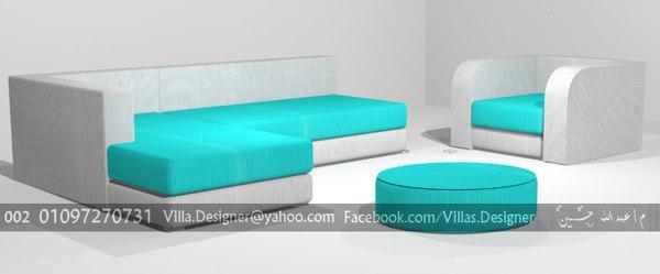 3d model modern l-shape sofa chair