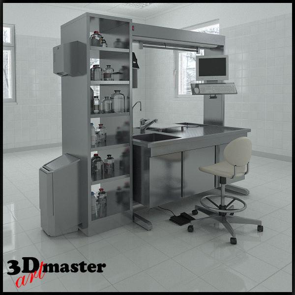 3d model table laboratory equipment