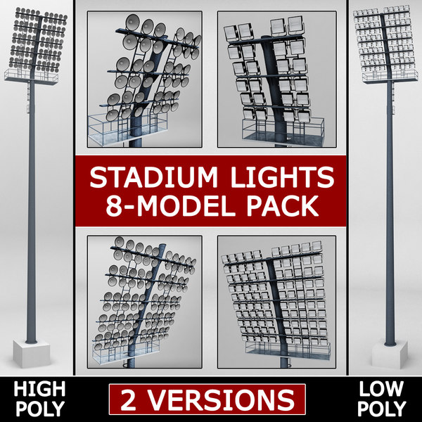 3d model pack stadium lights lux
