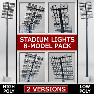 3d model pack stadium lights lux