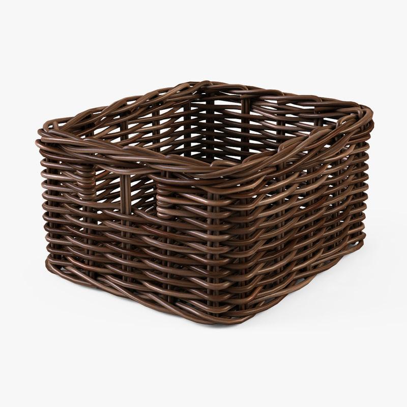 wicker basket ikea byholma 3d model