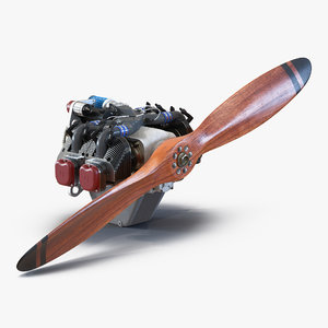 3d model piston aircraft engine ulpower