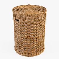 wicker laundry basket 3d model