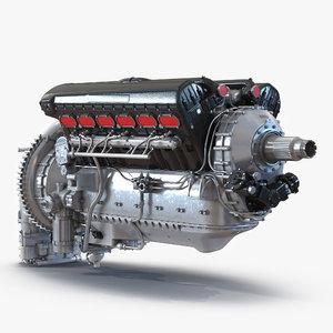 3d piston aero engine model