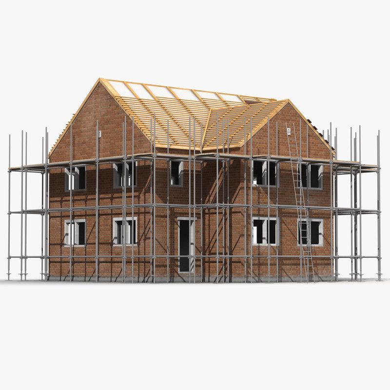 3d model private house construction 2