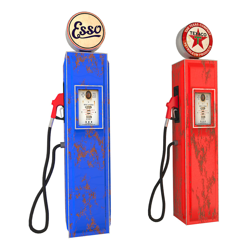 3d vintage gas pumps model