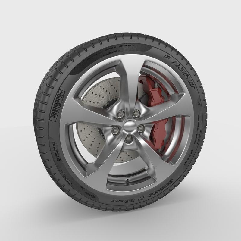 car wheel brakes 3d max