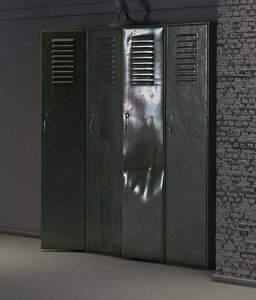 3d model of old worn lockers