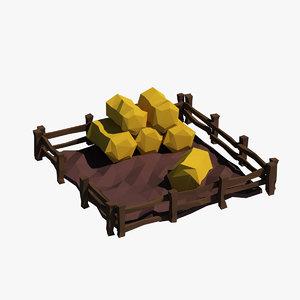 3d max haystack cartoon hay