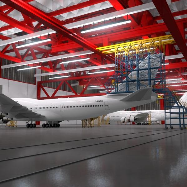 3d aircraft maintenance hangar scene