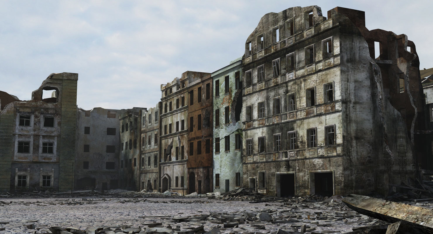 Ruined city ww2 warsaw 3d model for Cities destroyed in ww2