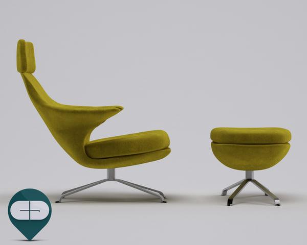 3d chaise longue radar model