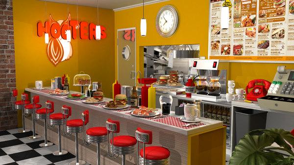 stylized restaurant fbx