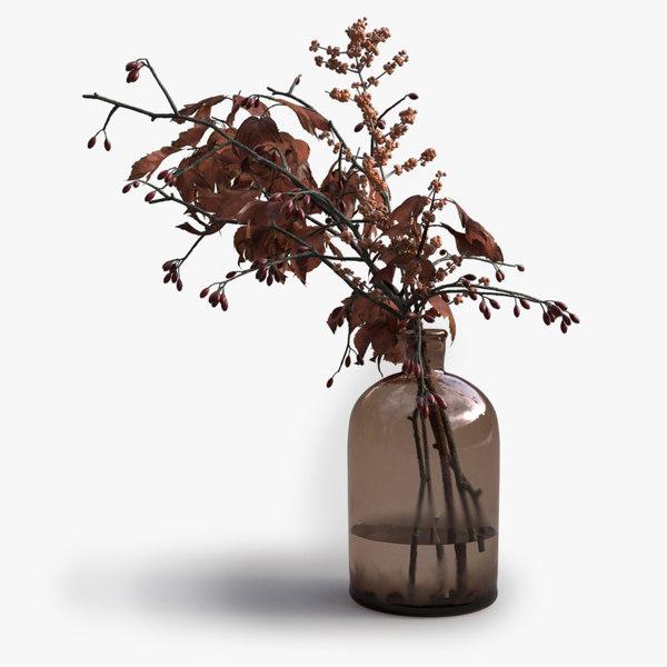 decorative autumn twigs 3d model