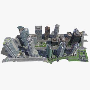 3d city block