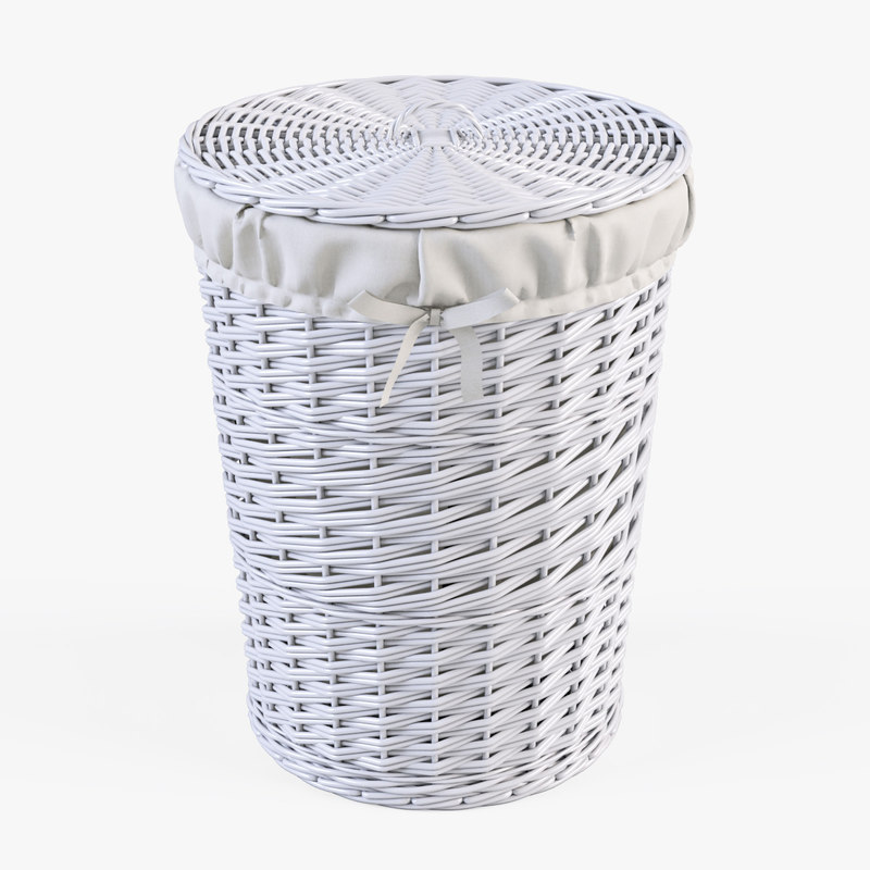 3d model wicker laundry basket color