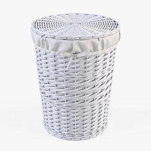 3d model wicker laundry basket color
