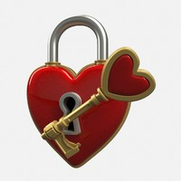 3d heart lock key model