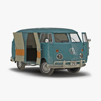Volkswagen Type 2 Panel Van Rigged Blue 3D Model