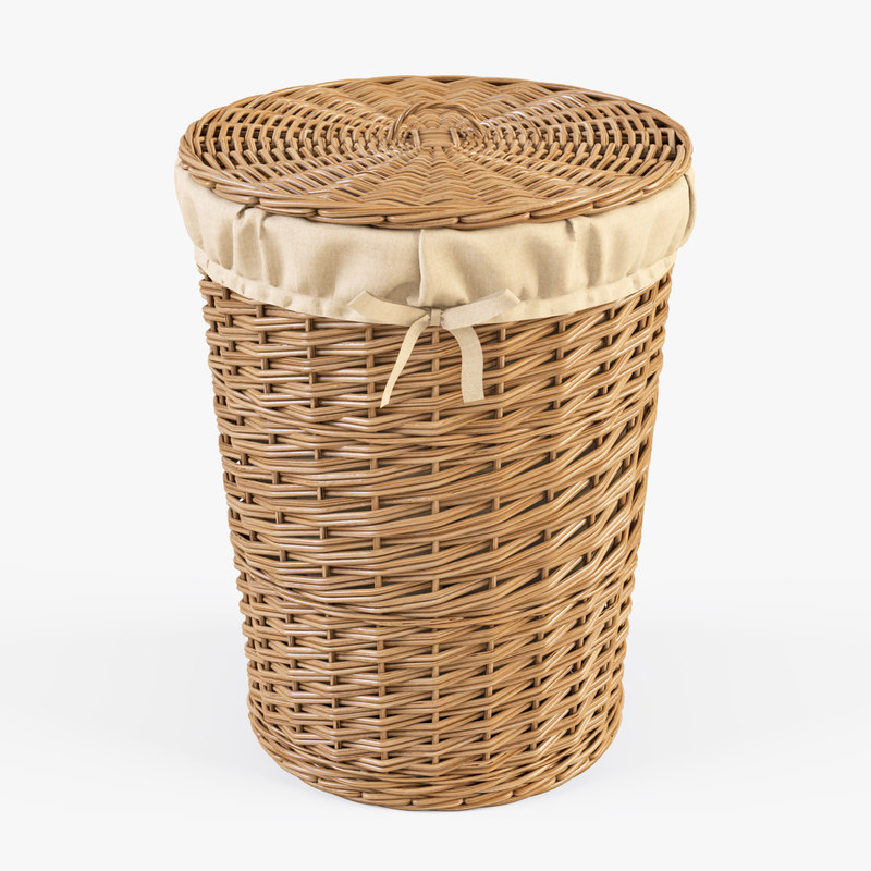 3d max wicker laundry basket color