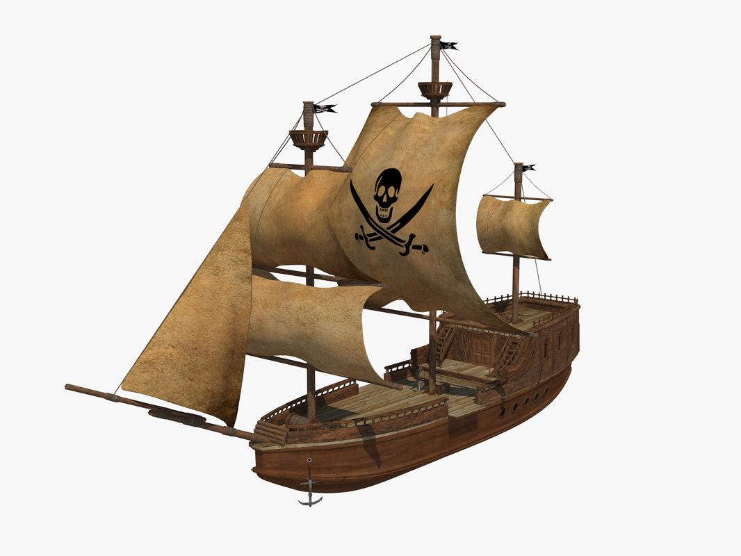 ship pirate 3d obj