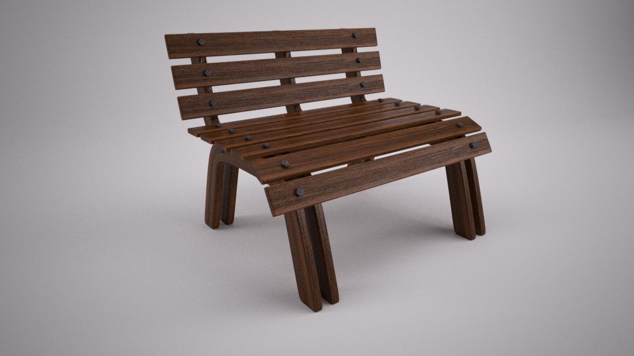 3d wooden park bench model
