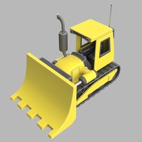 Cartoon Backhoe Excavator