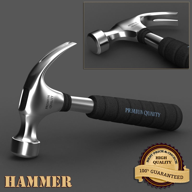 3d hammer realistic metal model
