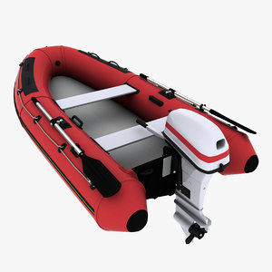 inflatable boat outboard motor 3d model