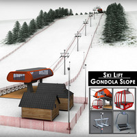 3d model ski slope gondola mountain