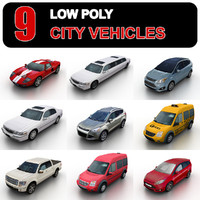 9 Low Poly Generic City Vehicles