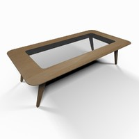 3ds max modern wooden smoking table glass