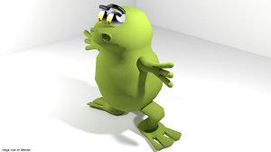 cartoon toon frog 3d model
