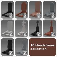 3d 10 headstones model