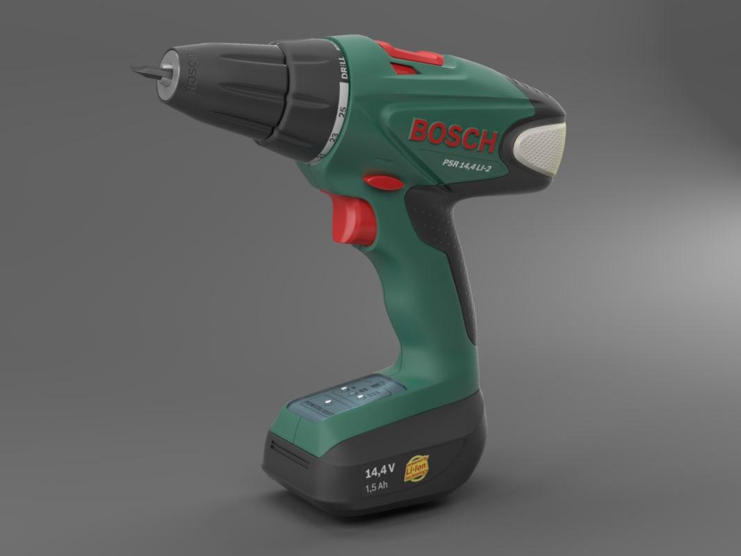 3d model of cordless drill screwdriver bosch