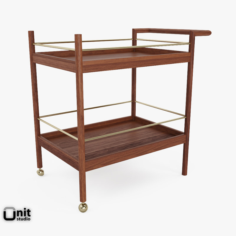 mid-century bar cart west 3d 3ds