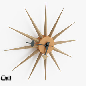 3d model sol sunburst wall clock