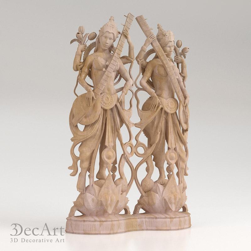 3d model goddess saraswati
