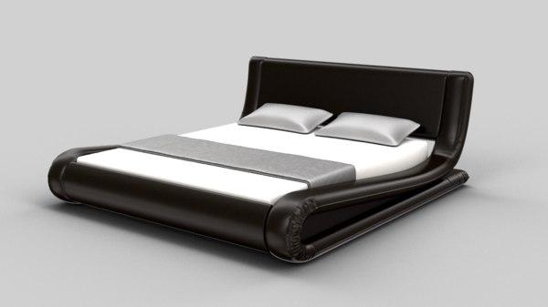 modern bed set kira 3d model